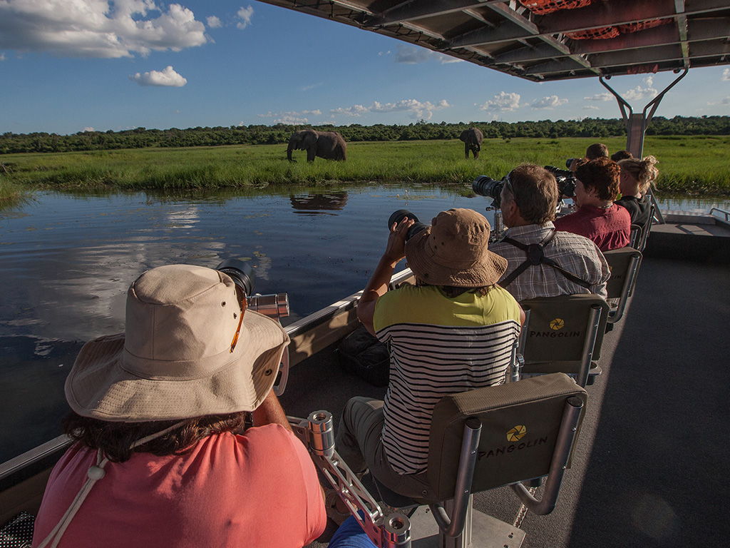 Guests photographing elephants on the Pangolin Photo Boat